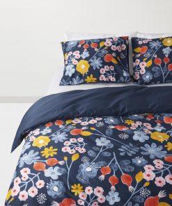 HEMA Dekbedovertrek - 140 X 200 - Hotel Katoen Satijn - Blauw Bloem (multicolor)