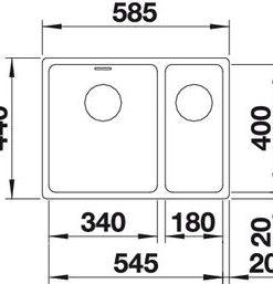 Spoelbak Blanco Andano 180/340 522977 onderbouw InFino-kopen