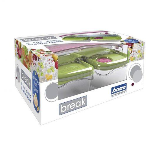 Lunchbox 2 stuks met bestekopslag Bama Break groen-kopen