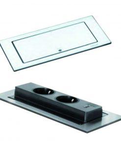 Evoline backflip USB stopcontact. Mat zwart. Belgische aarding