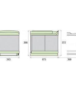 Lavanto bio afvalemmer 32 liter. Met deurmeenemer. RVS-kopen