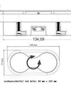 Inbouw stopcontact keuken werkblad - tafelblad draaibaar. RVS-kopen