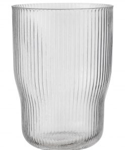 Bergen Vaas - 22 X Ø 13.5 Cm - Transparant Streep (transparant)