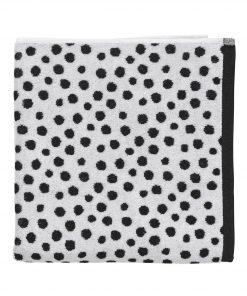 HEMA Handdoek - 70 X 140 Cm - Zware Kwaliteit - Wit Zwart Stip (noir/blanc)