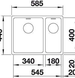 Blanco spoelbak Andano 340/180-IF vlakinbouw 522975 inFino bak links-kopen