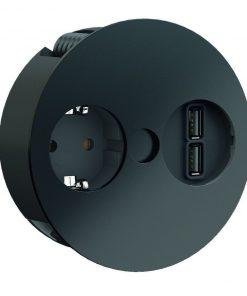 Twist Stopcontact - met USB lader Bachmann zwart-kopen