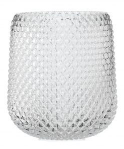 HEMA Vaas - 23 X Ø 16 Cm - Transparant Glas Ruit (transparant)