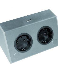 Werkblad dubbel stopcontact. USB lader. Belgische aarding-kopen