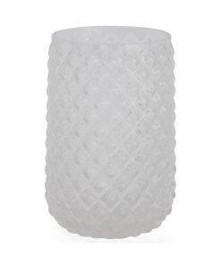 HEMA Vaas - 13 X Ø 7.5 Cm - Transparant Glas Ruit (Transparant)