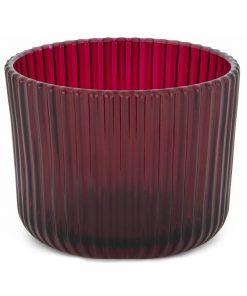 HEMA Sfeerlichthouder - 5.5 X Ø 7 Cm - Rood Ribbel (rood)