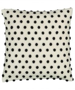 HEMA Kussenhoes - 50 X 50 - Pompons - Zwart/wit (zwart/wit)