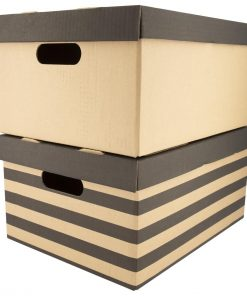 HEMA Opbergdoos Karton 28 X 37.5 X 18.5 - 2 Stuks (zwart/wit)