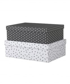 HEMA 2-pak Kartonnen Dozen (zwart/wit)